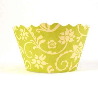 Swift Hannah Chartreuse & Yellow Cupcake Wrapper by Bella Cupcake Couture  Pk 12