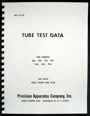 Precision Tube Test Data for 910 912 914 915 920 922 954 Tube Testers