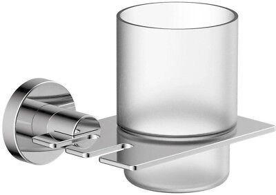 Toothbrush Holder Metal Wall Mount Minimalist Style in Polished Chrome Finish