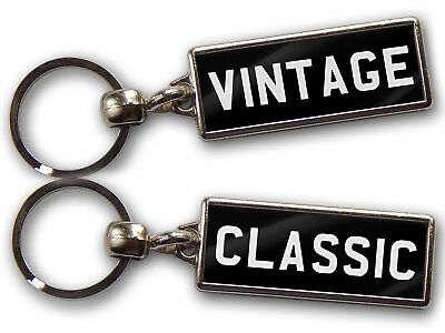 PERSONALISED NUMBER PLATE KEYRING Vintage Custom Gift Large Chrome Double Sided
