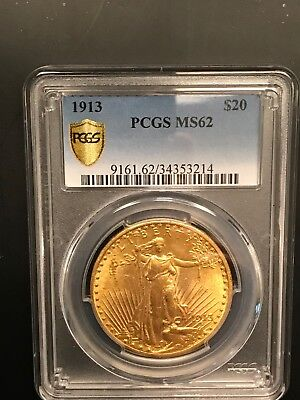 1913 St Gaudens $20 Gold PCGS MS62 ~ 1 of 100+ No Reserve Coin Auctions