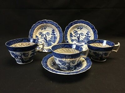Booths Real Old Willow Set of 3 Cups & Saucers