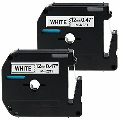 2 Pack Compatible Brother P-touch M231 Label Tape Cartridge 12mm MK231 M-K231 ,