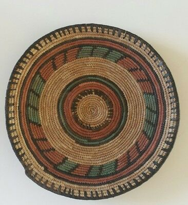 """Hand-Woven Plate Coiled Multicolor Vintage African Ethnic 12 1/2"""" Wall Hanging"""