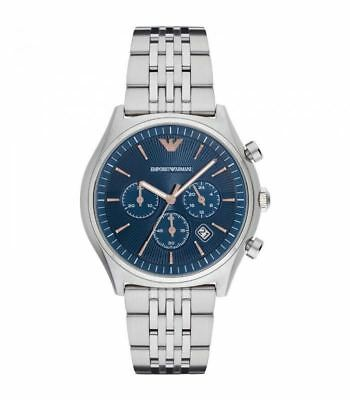 Emporio Armani Mens Gents Wrist Watch Stainless Steel Strap Blue Dial AR1974
