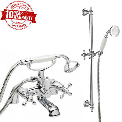 Traditional Cross Head Handles Chrome Bath Shower Mixer Tap with Rail Kit *V