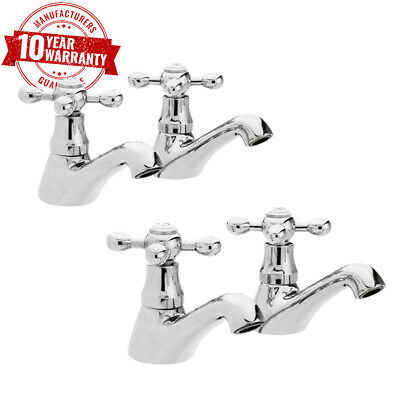 Traditional Chrome Basin Taps Pair & Bath Taps Pair with Cross Head Handles *V