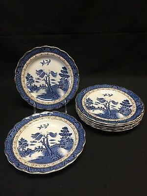 Booths Real Old Willow A8025 Set of 7 Dessert / Pie Plates