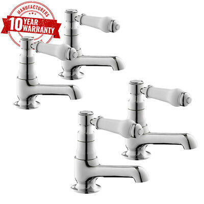 Traditional Chrome Basin Taps Pair & Bath Taps with White Ceramic Handles *WN