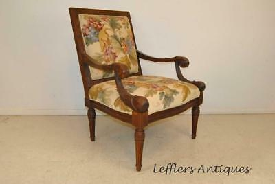 French Style Hand Carved Walnut Needlepoint Arm Chair