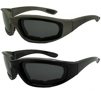 Motorcycle Wrap Sport Polarized Foam Padded Goggles Sunglasses Ladies Mens Black