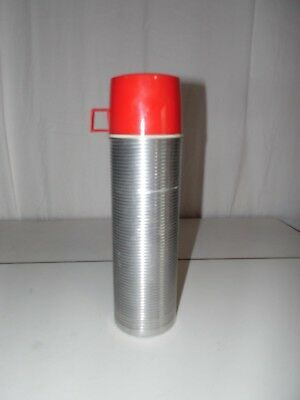 Vintage King Seeley Thermos Quart Size Ribbed Aluminum Insulated # 2484
