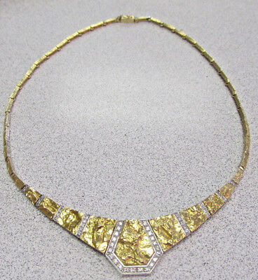 Beautiful Gold and Diamond Estate Necklace 18k Gold Nugget Style   Make Offer
