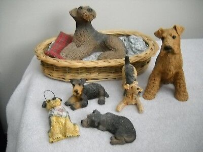 6 Items - Mixed Lot Airedale Terrier Figurines