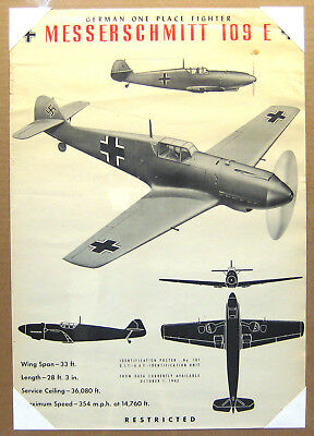 WWII Aircraft Training Spotter Poster - ME-109E Fighter
