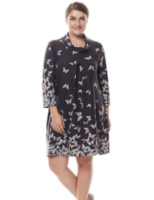 a83ed68b06 Chicwe Women's Plus Size Butterfly Print Dress Cowl Neck Cashmere Touch US  12