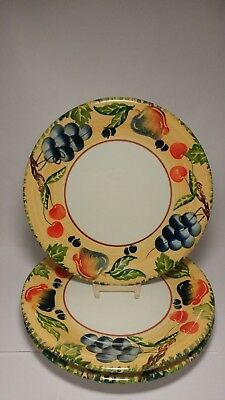 "Set of THREE 10 1/2"" Dansk Designs Hand Painted Fall Harvest Dinner Plates"