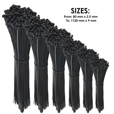QUALITY BLACK CABLE TIES / ZIP WRAPS LONG SHORT Thick Thin Narrow Small Fastener