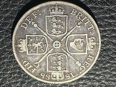 1888 SILVER COIN Great Britain Double Florin 1/2 CROWN VICTORIA DEI GRATA - NICE