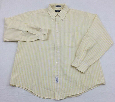 vtg 80s GANT yellow CLUB OXFORD striped button down L/S shirt sz L 16.5 34 stain