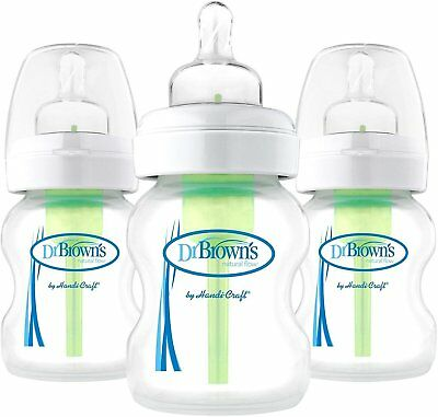 Options Wide-Neck Baby Bottle, Dr. Brown's, 5 oz 3 pack Clear
