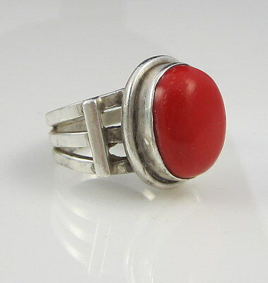 Estate Vintage Stunning Bold Sterling Silver Bright Red Coral Dome Size 6.5 Ring