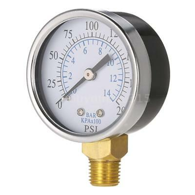 "0~200psi Water Pressure Gauge Meter 1/4"" NPT Thread Manometer Side Mount W5K3"