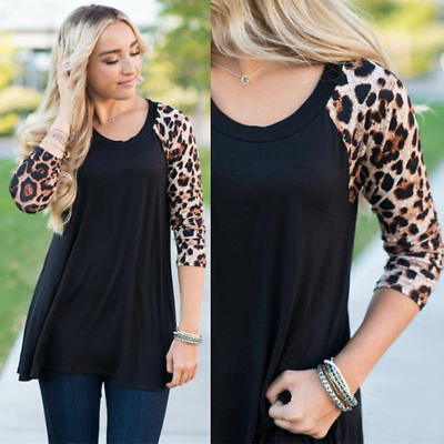 Plus Size Womens 3/4 Sleeve Jersey Tops Casual Tunic Blouse Loose Cotton T-shirt
