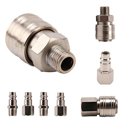 """10 Pc/Set Male/Female Release Air Line Hose Couplings Fitting 1/4"""" Bsp Connector"""