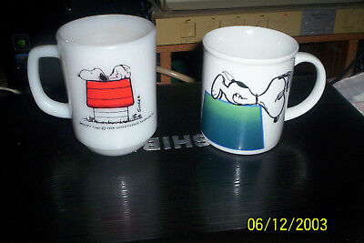 "2 Vintage Snoopy ""I Think I'M Allergic To Morning"" 1958 Coffee Cups--1 is OEM"