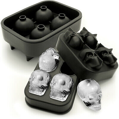 2x Flexible Silicone Ice Cube Skull Maker 4x4.5cm Skull Mould Whiskey Cocktail