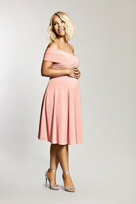 84d494d58d1 Katie Piper Maternity Pink Bardot Twist Front Detailed Dress Want That Trend