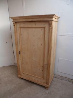 A Superb Late Victorian Antique/Old Pine 1 Panel Child's Cupboard Wax/Paint