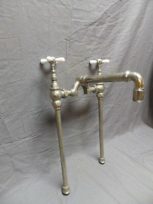 Antique Bathtub Kitchen Sink Faucet Industrial Spa Nickel Brass Vtg Old 603-18P