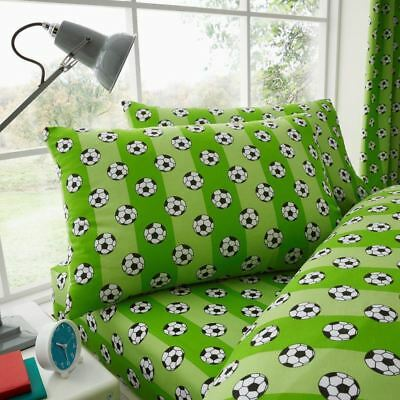 Football Single Fitted Sheet & Pillowcase Set Bedding Kids Green