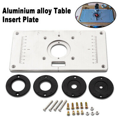 Router tables power tools tools home garden picclick aluminum router table insert plate 4 rings screws 235mm x 120mm x 8mm silver greentooth Choice Image