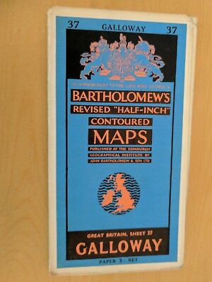 vintage paper BARTHOLOMEWS MAP GALLOWAY SHEET 37 HALF INCH 3 shillings