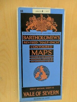 vintage CLOTH BARTHOLOMEWS MAP VALE OF SEVERN SHEET 18 HALF INCH six shillings