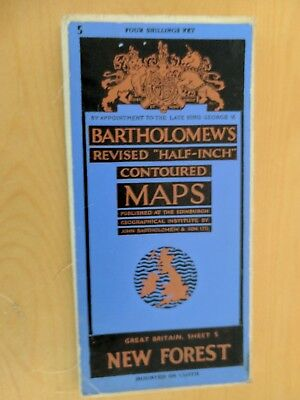 vintage CLOTH BARTHOLOMEWS MAP NEW FOREST SHEET 5 HALF INCH 4 shillings