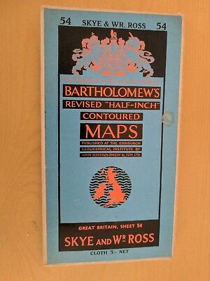 vintage CLOTH BARTHOLOMEWS MAP SKYE & WEST ROSS SHEET 54 HALF INCH 5 shillings