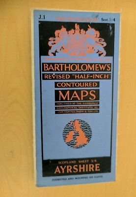 vintage CLOTH BARTHOLOMEWS MAP AYRSHIRE SHEET 3/4 HALF INCH 4 shillings
