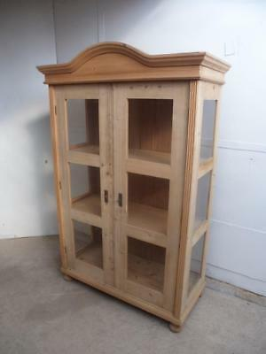 A Top Quality Antique/Old Pine 6 Panel Glazed Large Display Cabinet to Wax/Paint