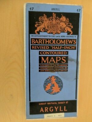 vintage CLOTH BARTHOLOMEWS MAP Argyll SHEET 47 HALF INCH 5 shillings