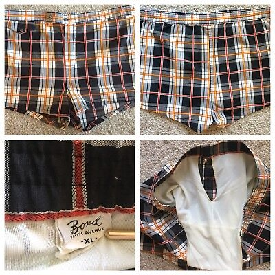 BOND Fifth Avenue Mens Plaid Swim Trunks Shorts Sz XL Vintage 50's-60's
