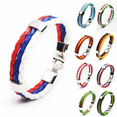 Colorful World Cup Country Flag Leather Bracelet 3 Strands Fashion Braided Cheer