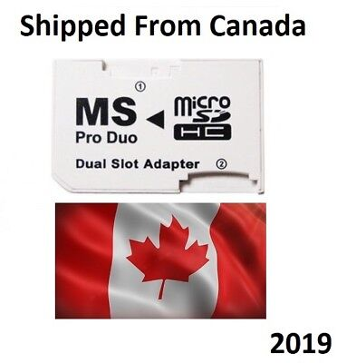 Micro SD TF to Memory Stick MS Pro Duo PSP Card Dual 2 Slot Adapter Converter