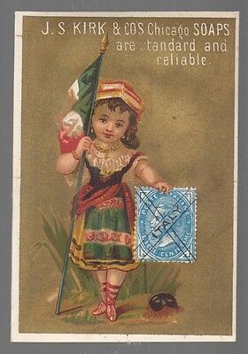 "[40150] 1880s STAMP TRADE CARD J.S. KIRK & CO. CHICAGO SOAPS ""FLAG OF ITALY"""