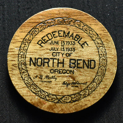 1933 NORTH BEND, OR, 50 CENTS WOODEN DEPRESSION SCRIP, OR260-.50a