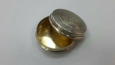RR Rare old collectible French silver pill box with gilt 19th century