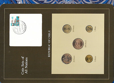 Coin Sets of All Nations Chile UNC 5, 100 Pesos 1986 50, 10, 1 Pesos 1987